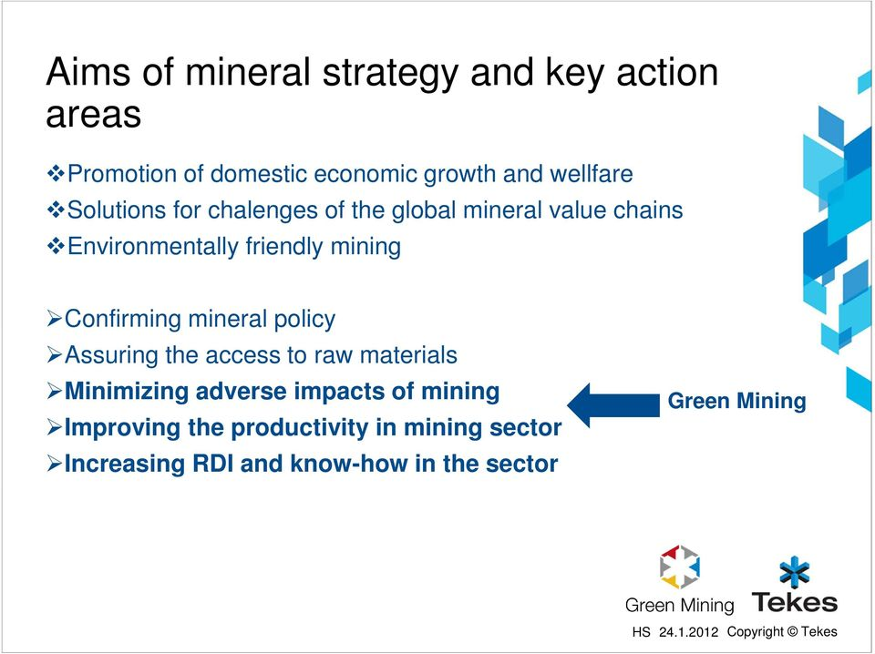 Confirming mineral policy Assuring the access to raw materials Minimizing adverse impacts of