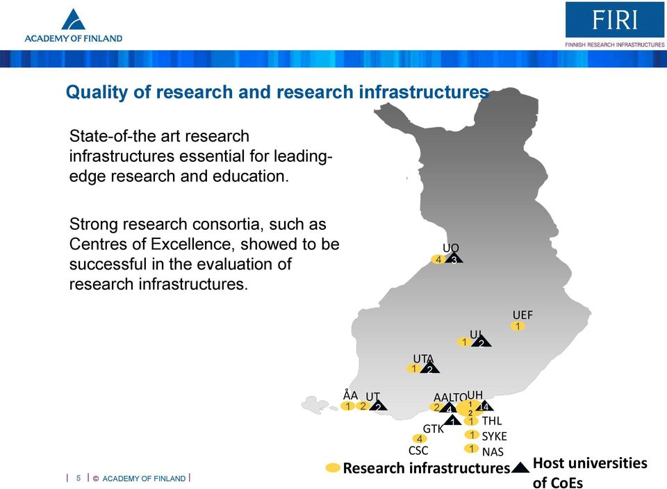 Strong research consortia, such as Centres of Excellence, showed to be successful in the evaluation of