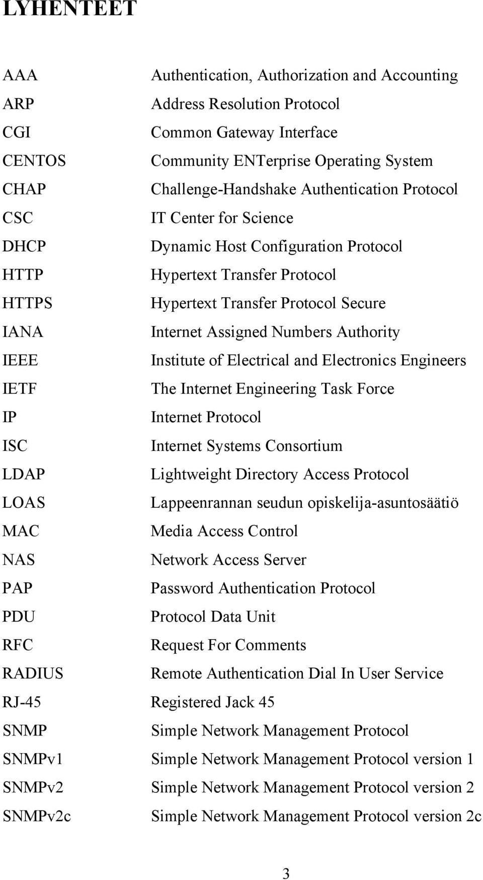Authority IEEE Institute of Electrical and Electronics Engineers IETF The Internet Engineering Task Force IP Internet Protocol ISC Internet Systems Consortium LDAP Lightweight Directory Access