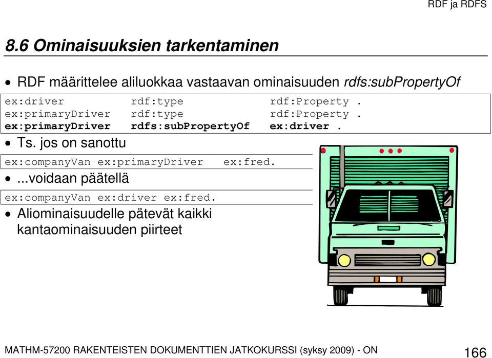 ex:primarydriver rdfs:subpropertyof ex:driver. Ts.