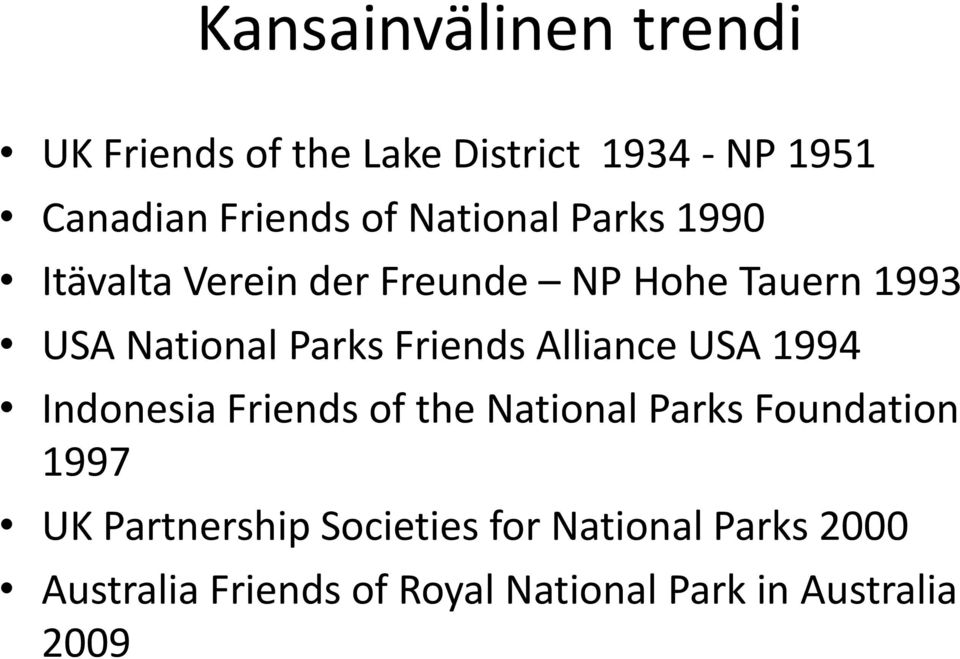 Friends Alliance USA 1994 Indonesia Friends of the National Parks Foundation 1997 UK