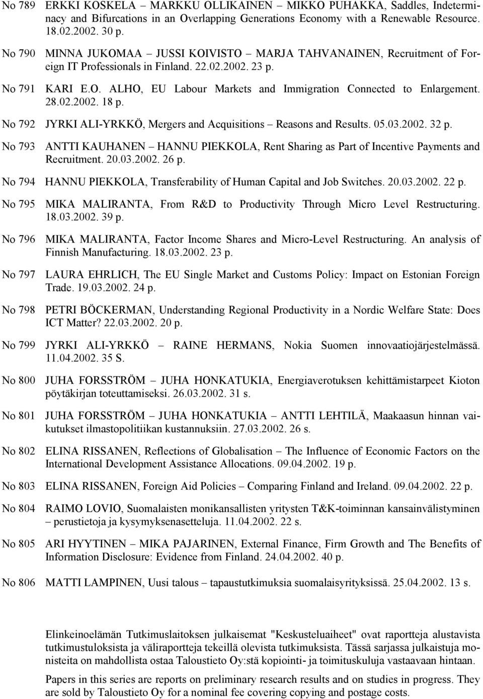 No 792 JYRKI ALI-YRKKÖ, Mergers and Acquisitions Reasons and Results. 05.03.2002. 32 p. No 793 ANTTI KAUHANEN HANNU PIEKKOLA, Rent Sharing as Part of Incentive Payments and Recruitment. 20.03.2002. 26 p.