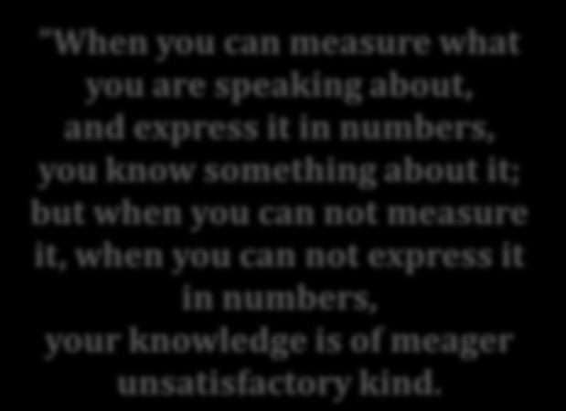What gets measured gets done Lord Kelvin, 1883 When you can measure what you are speaking about, and express it in numbers, you know something about it; but when you can not measure it, when you can