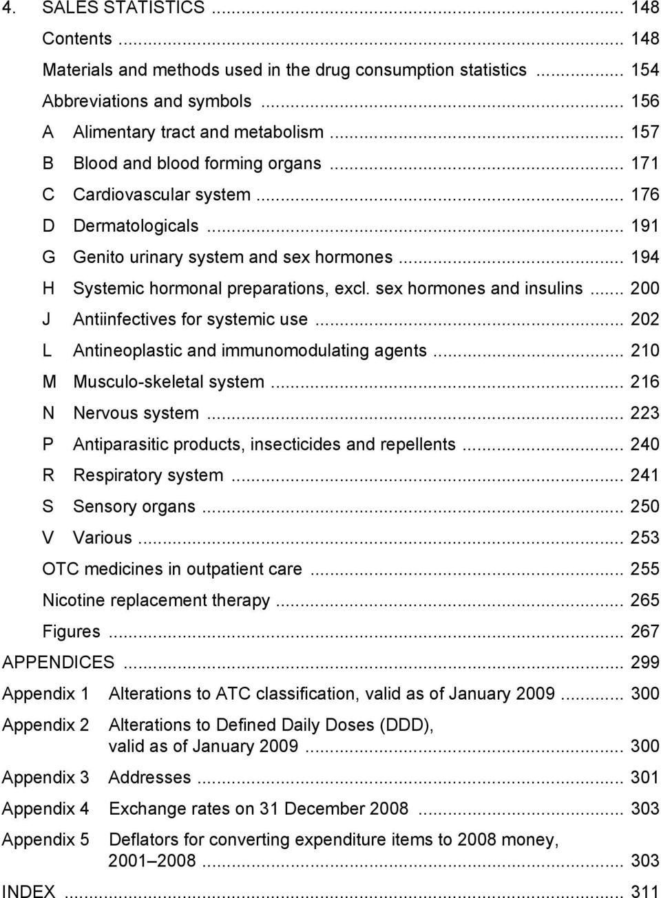 sex hormones and insulins... 200 J Antiinfectives for systemic use... 202 L Antineoplastic and immunomodulating agents... 210 M Musculo-skeletal system... 216 N Nervous system.