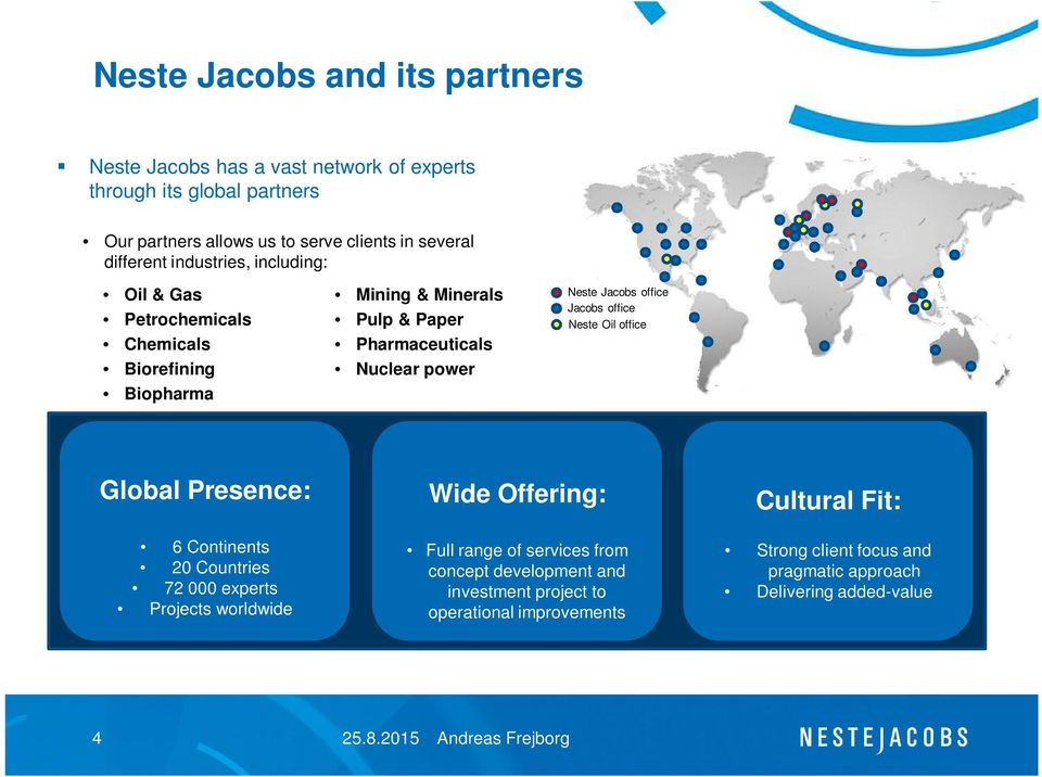 Jacobs office Jacobs office Neste Oil office Global Presence: 6 Continents 20 Countries 72 000 experts Projects worldwide Wide Offering: Full range of