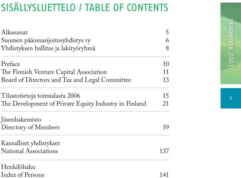 10 11 13 yearbook 2007 Tilastotietoja toimialasta 2006 The Development of Private Equity Industry in Finland