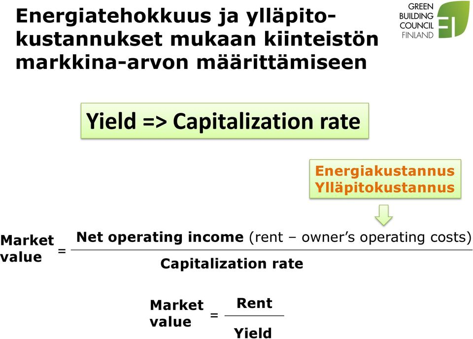 Energiakustannus Ylläpitokustannus Market value = Net operating