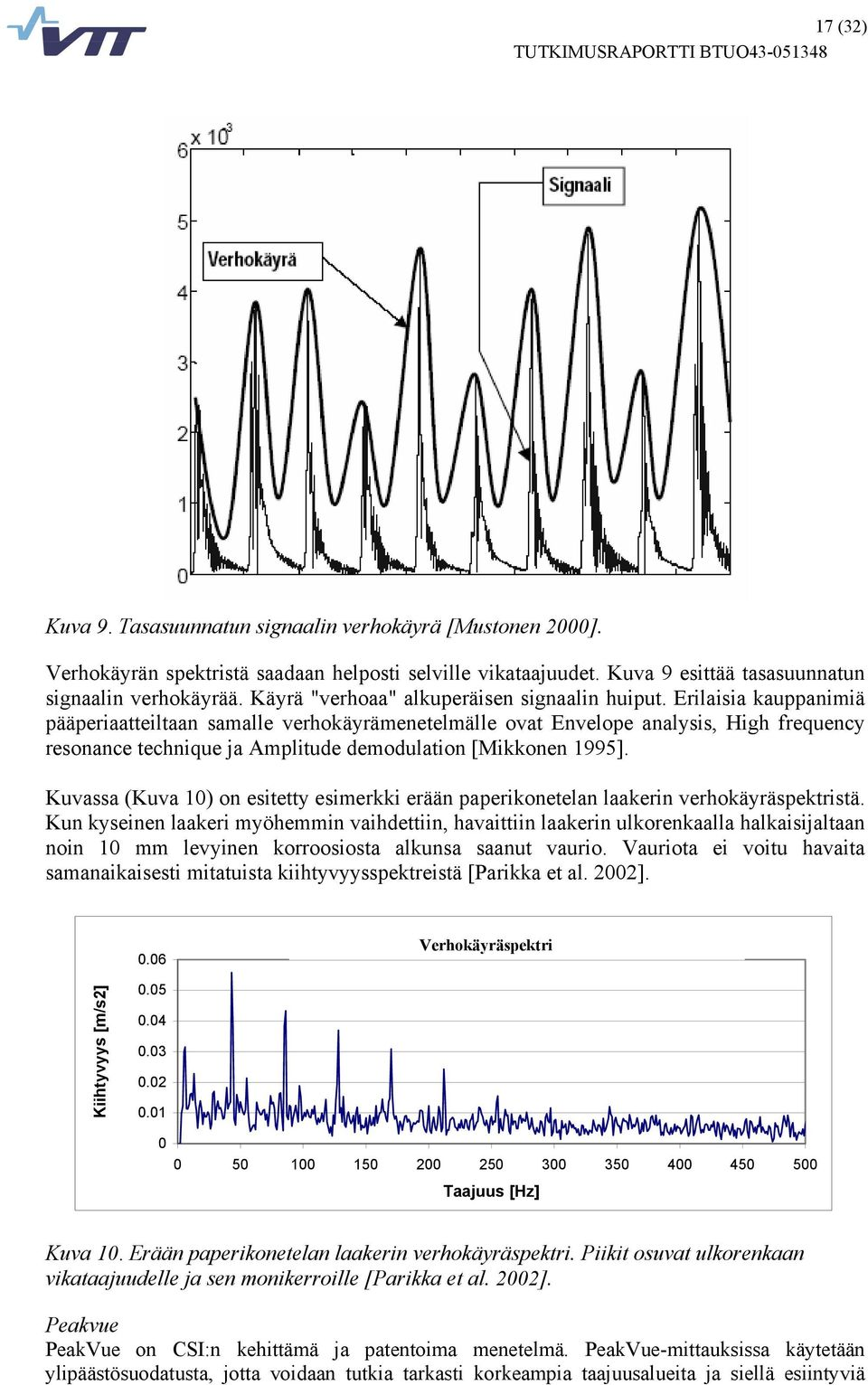 Erilaisia kauppanimiä pääperiaatteiltaan samalle verhokäyrämenetelmälle ovat Envelope analysis, High frequency resonance technique ja Amplitude demodulation [Mikkonen 1995].