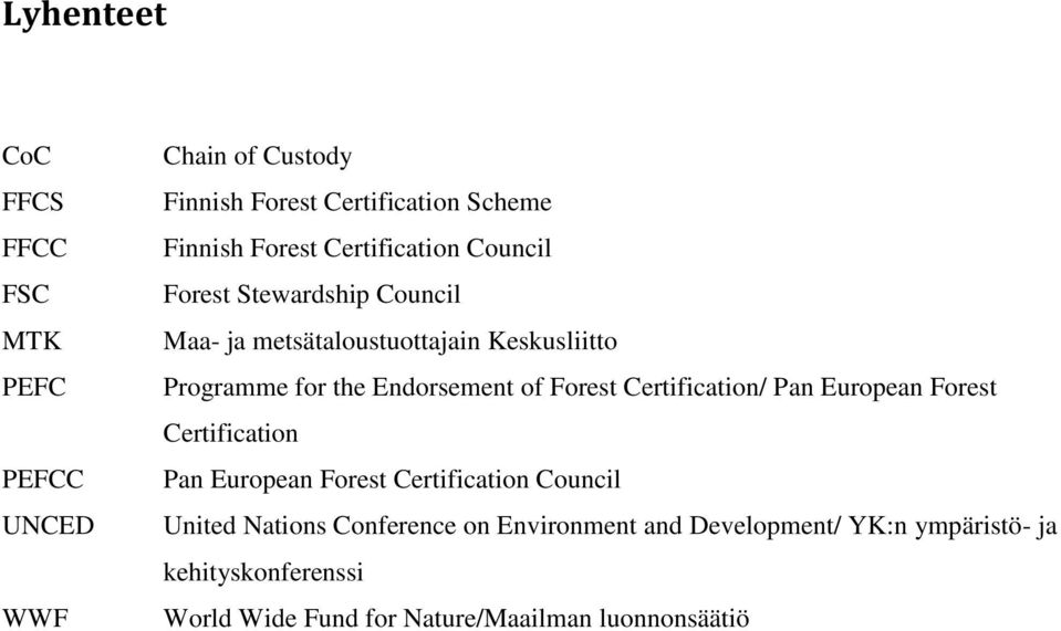of Forest Certification/ Pan European Forest Certification Pan European Forest Certification Council United Nations