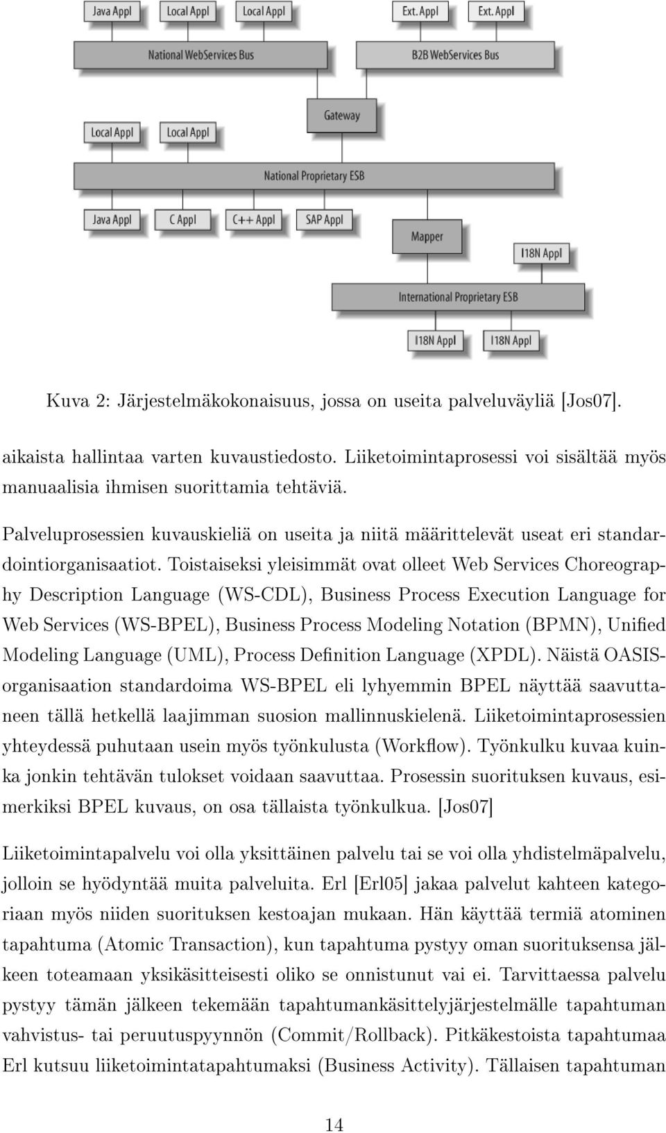 Toistaiseksi yleisimmät ovat olleet Web Services Choreography Description Language (WS-CDL), Business Process Execution Language for Web Services (WS-BPEL), Business Process Modeling Notation (BPMN),