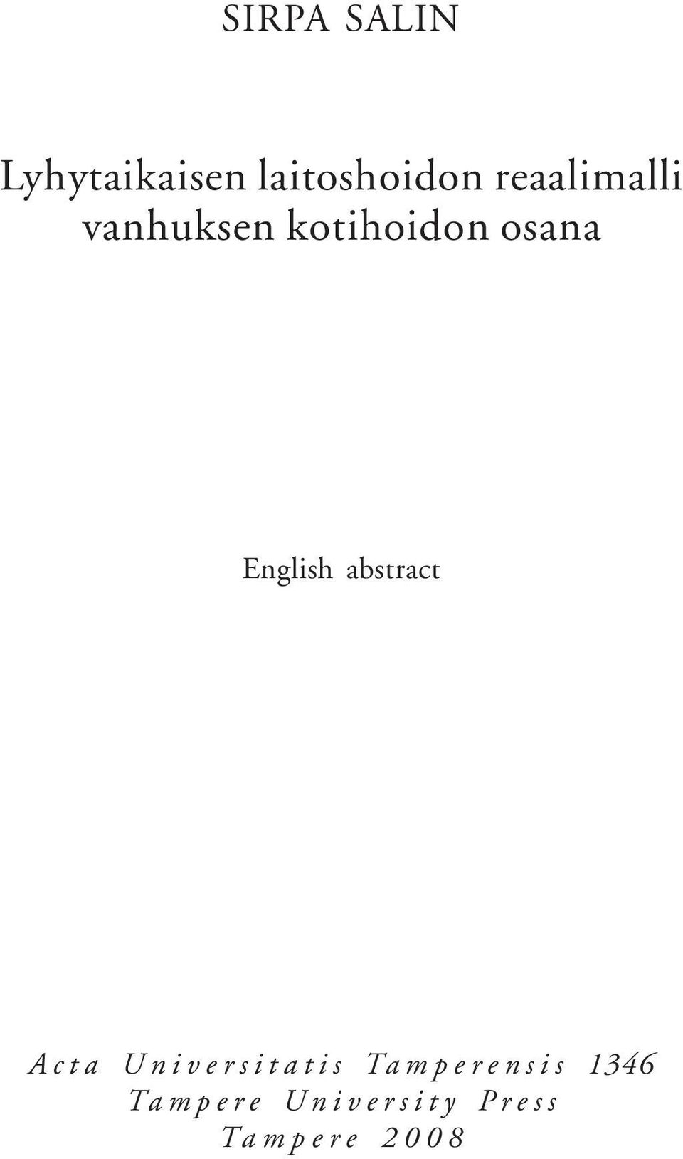 English abstract Acta Universitatis
