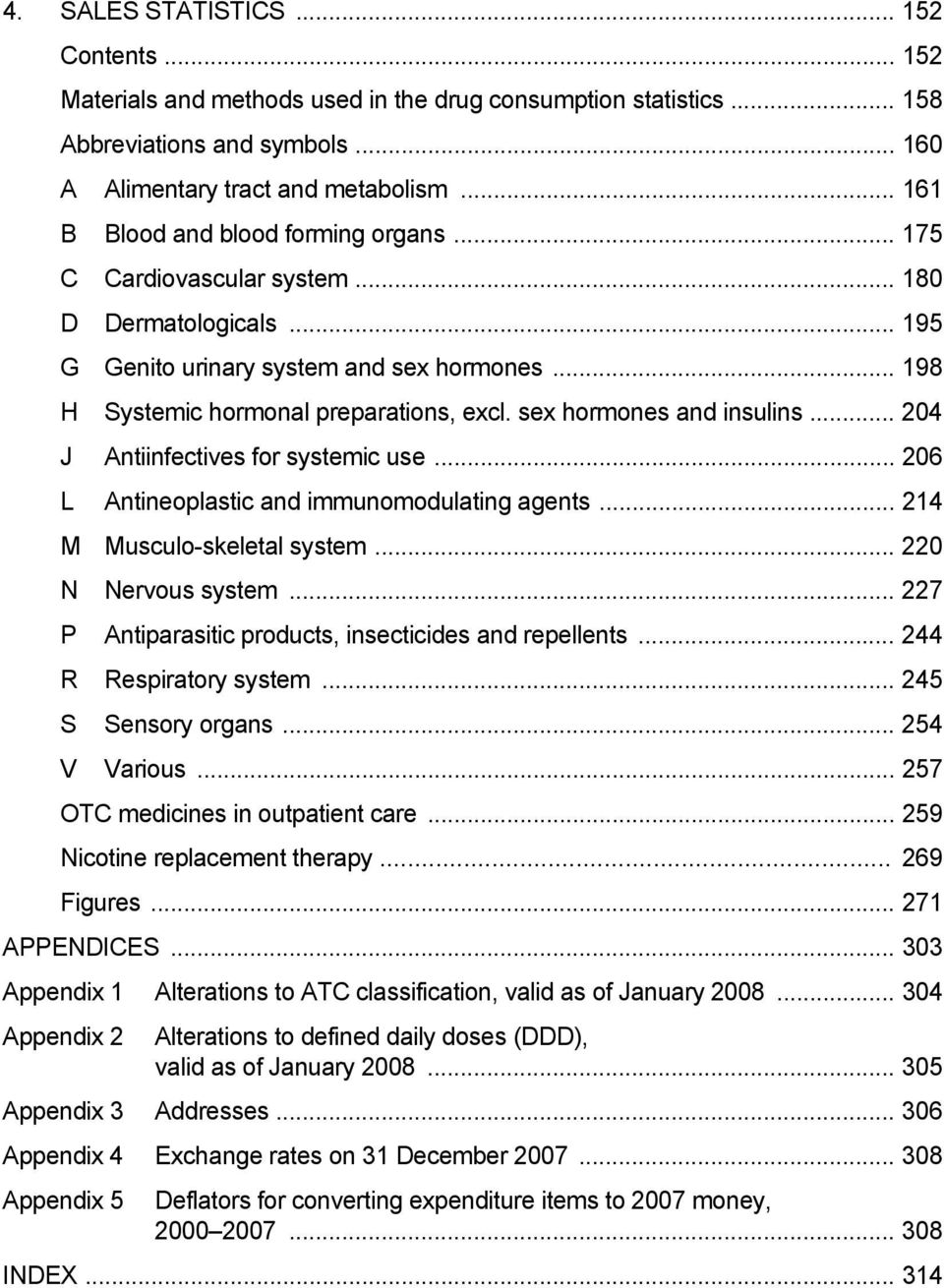 sex hormones and insulins... 204 J Antiinfectives for systemic use... 206 L Antineoplastic and immunomodulating agents... 214 M Musculo-skeletal system... 220 N Nervous system.