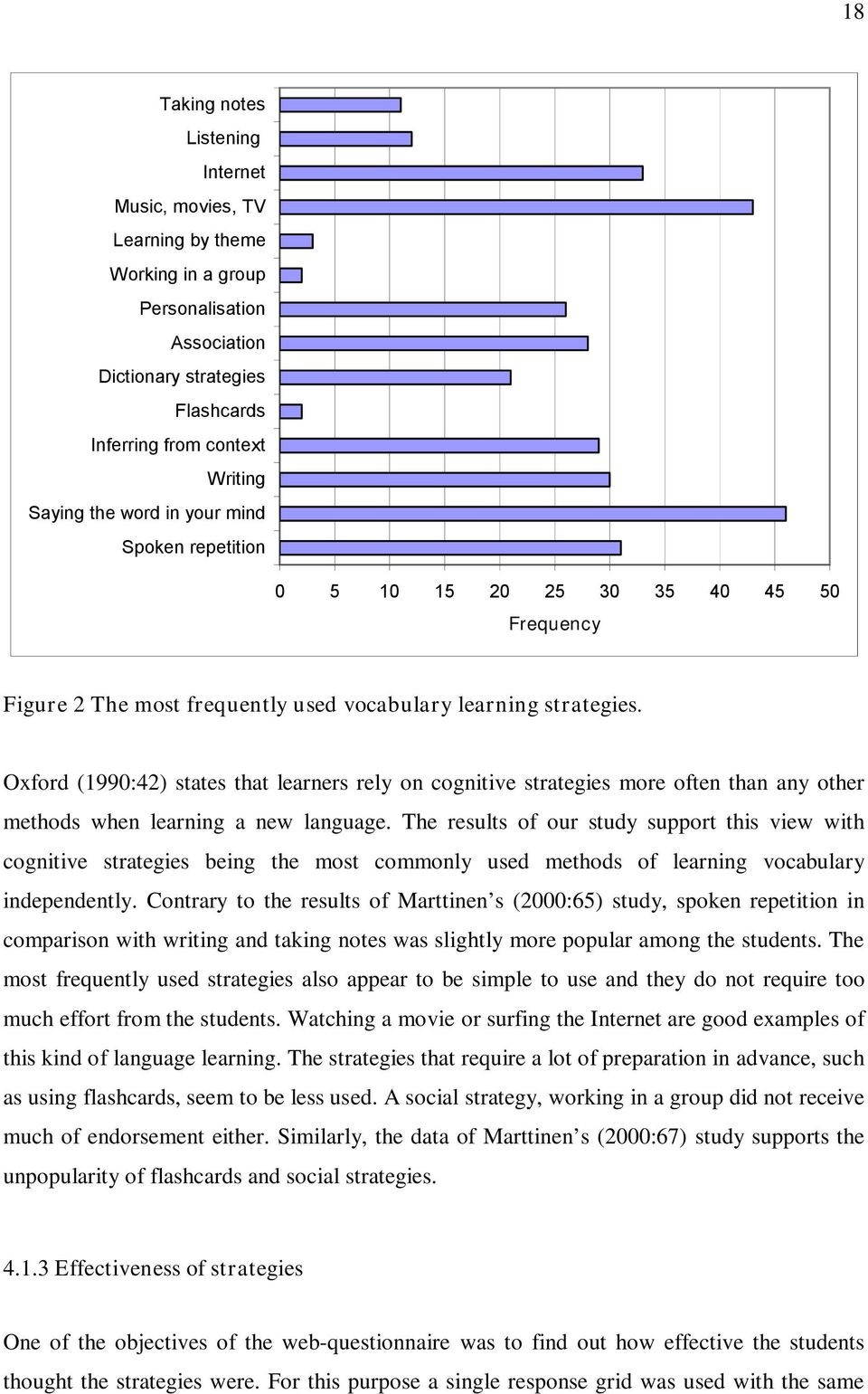 Oxford (1990:42) states that learners rely on cognitive strategies more often than any other methods when learning a new language.