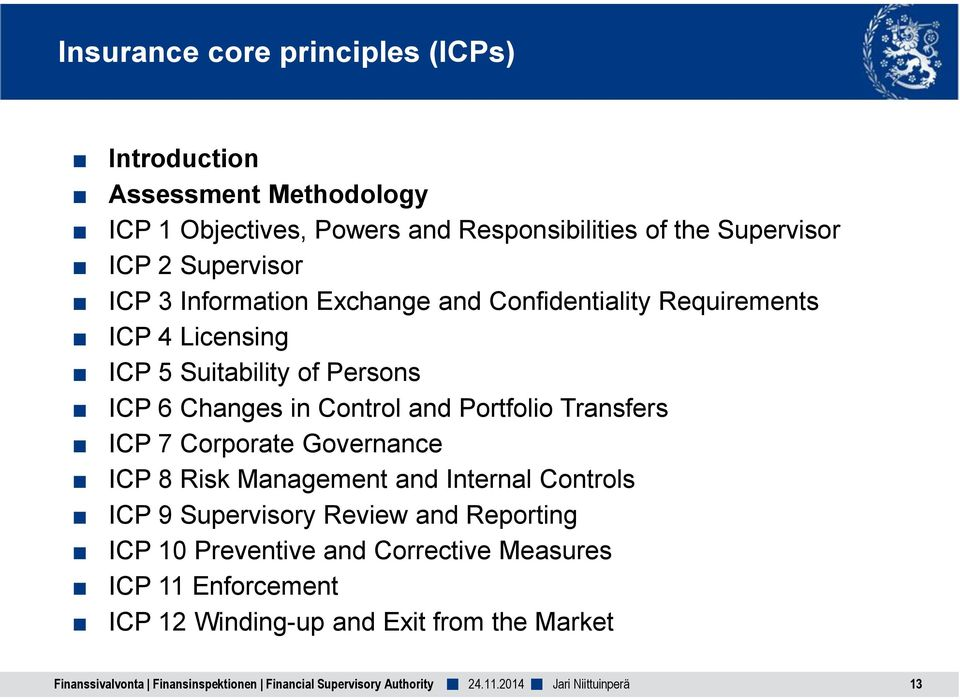 Portfolio Transfers ICP 7 Corporate Governance ICP 8 Risk Management and Internal Controls ICP 9 Supervisory Review and Reporting ICP 10