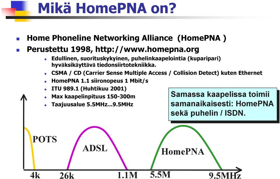 ! CSMA / CD (Carrier Sense Multiple Access / Collision Detect) kuten Ethernet! HomePNA 1.1 siironopeus 1 Mbit/s! ITU 989.