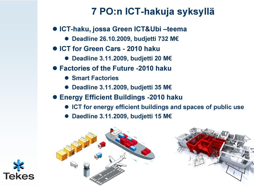 2009, budjetti 20 M Factories of the Future -2010 haku Smart Factories Deadline 3.11.