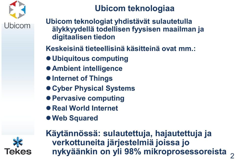 : Ubiquitous computing Ambient intelligence Internet of Things Cyber Physical Systems Pervasive computing