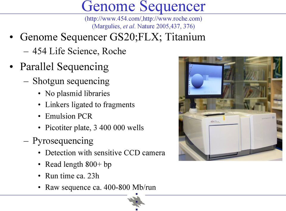 Shotgun sequencing No plasmid libraries Linkers ligated to fragments Emulsion PCR Picotiter plate, 3