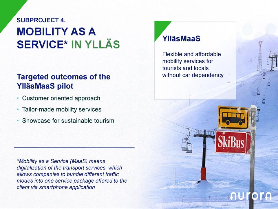 services Showcase for sustainable tourism YlläsMaaS Flexible and affordable mobility services for tourists and locals