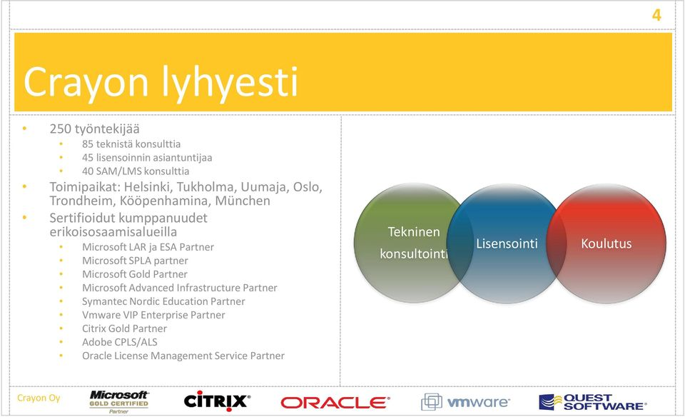 Microsoft SPLA partner Microsoft Gold Partner Microsoft Advanced Infrastructure Partner Symantec Nordic Education Partner Vmware VIP