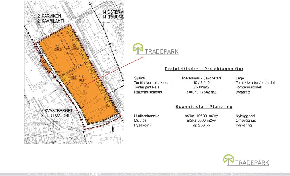 Suunnittelu - Planering m2ka 10600 m2vy m2ka 5600 m2vy ap 296 bp Nybyggnad Ombyggnad Parkering ARCHITECTURE & INTERIORS -