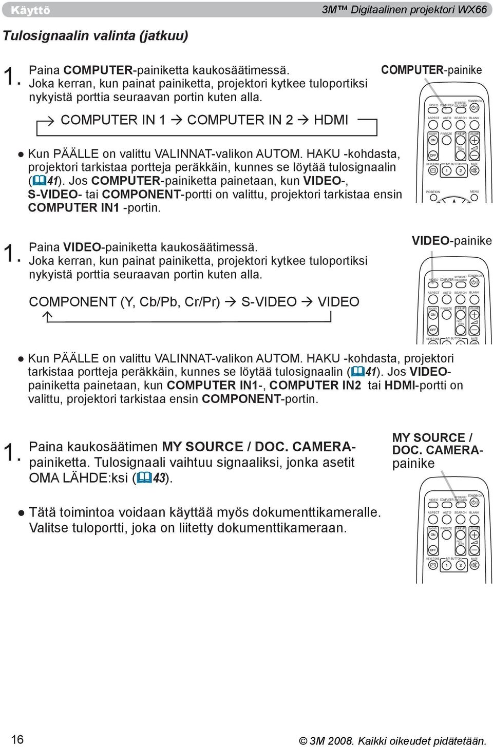 COMPUTER IN 1 COMPUTER IN 2 HDMI COMPUTER-painike STANDBY/ON MY SOURCE/ VIDEO COMPUTER DOC.CAMERA ASPECT AUTO SEARCH BLANK MAGNIFY FREEZE PAGE UP VOLUME Kun PÄÄLLE on valittu VALINNAT-valikon AUTOM.