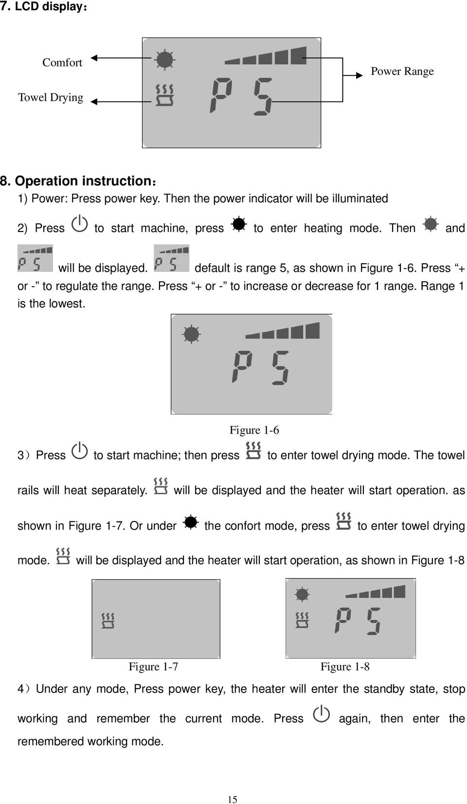 Press + or - to regulate the range. Press + or - to increase or decrease for 1 range. Range 1 is the lowest. Figure 1-6 3)Press to start machine; then press to enter towel drying mode.