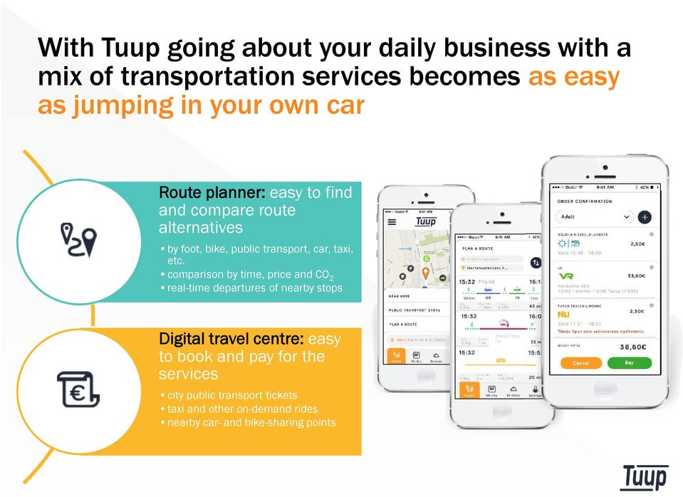 comparison by time, price and CO 2 real-time departures of nearby stops Digital travel centre: easy to book and pay for