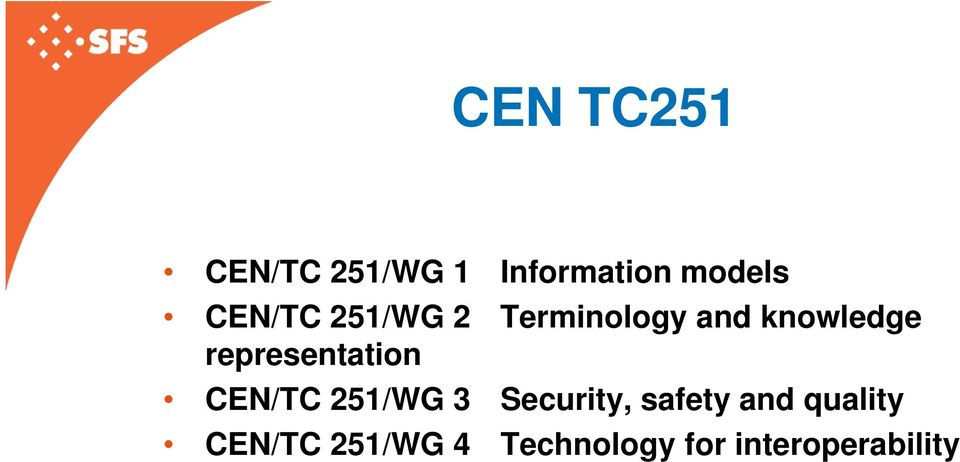 representation CEN/TC 251/WG 3 Security, safety
