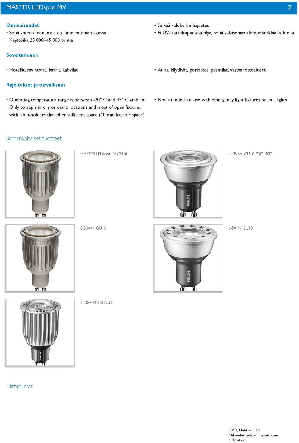temperature range is between -0 C and 4 C ambient Only to apply in dry or damp locations and most of open fixtures with lamp-holders that offer sufficient space (0 mm free air