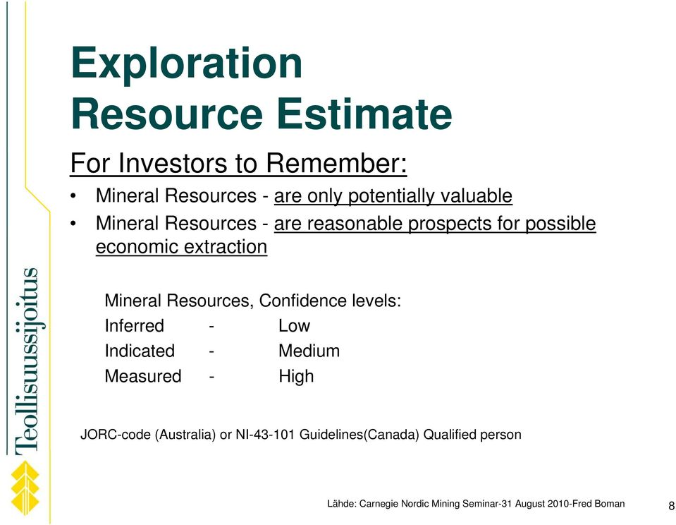 Resources, Confidence levels: Inferred - Low Indicated - Medium Measured - High JORC-code (Australia)