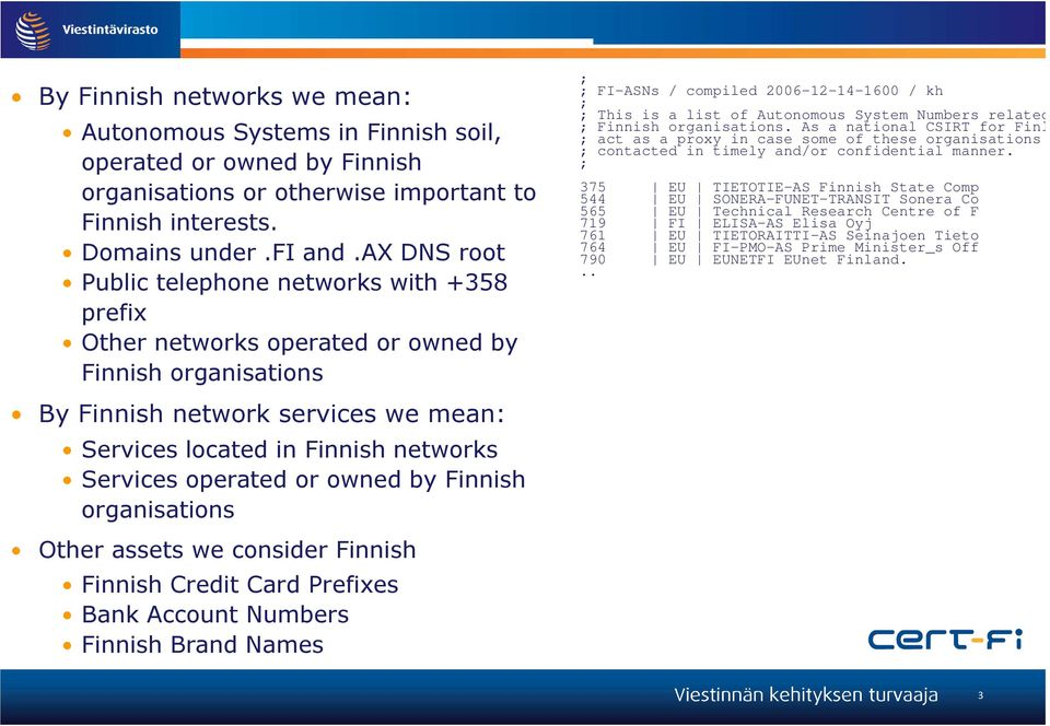 operated or owned by Finnish organisations ; ; FI-ASNs / compiled 2006-12-14-1600 / kh ; ; This is a list of Autonomous System Numbers related to F ; Finnish organisations.