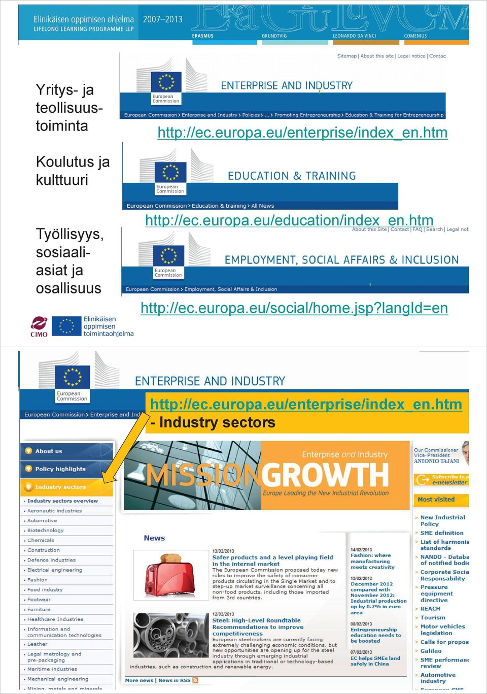http://ec.europa.eu/education/index_en.htm http://ec.europa.eu/social/home.