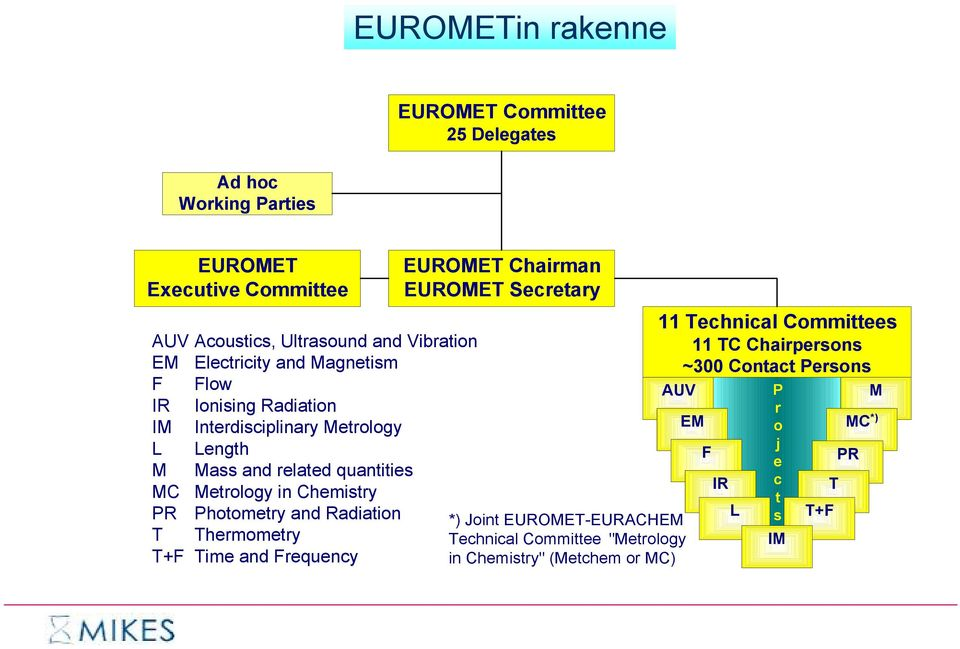 Chemistry PR Photometry and Radiation T Thermometry T+F Time and Frequency EUROMET Chairman EUROMET Secretary *) Joint EUROMET-EURACHEM Technical