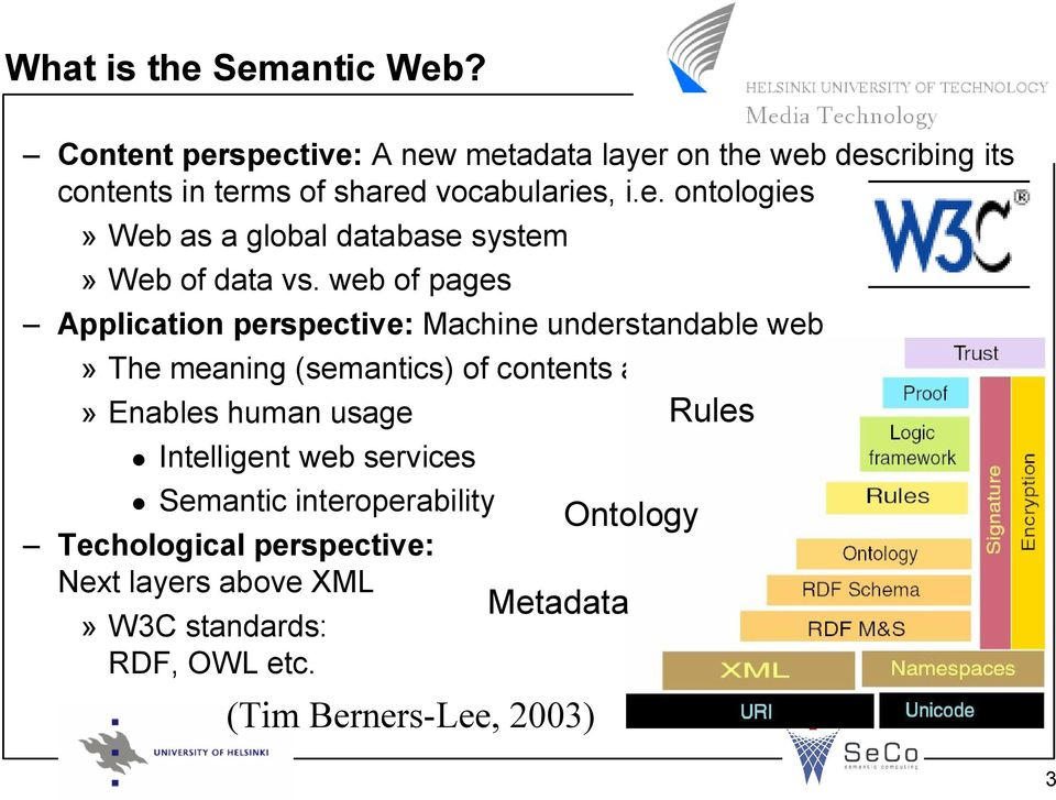 web of pages Application perspective: Machine understandable web» The meaning (semantics) of contents accessible to machines»