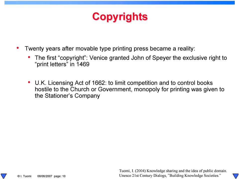 Licensing Act of 1662: to limit competition and to control books hostile to the Church or Government, monopoly for