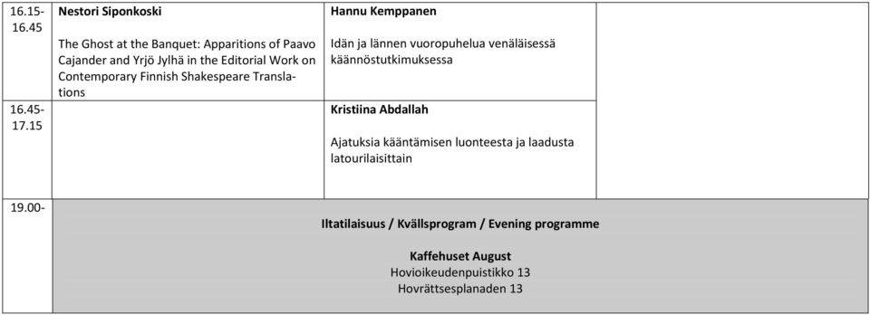 Finnish Shakespeare Translations 16.45-17.