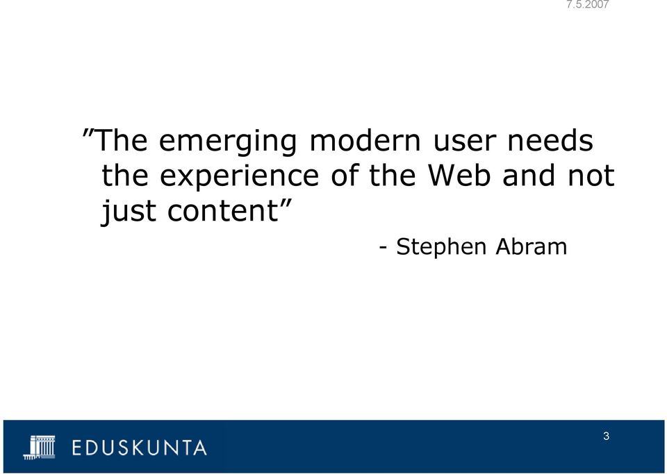 experience of the Web