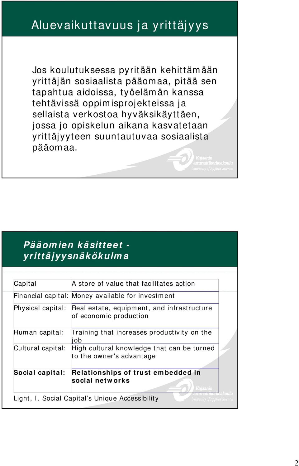 Pääomien käsitteet - yrittäjyysnäkökulma Capital Physical capital: A store of value that facilitates action Financial capital: Money available for investment Real estate, equipment, and