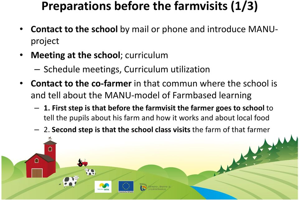 tell about the MANU-model of Farmbased learning 1.