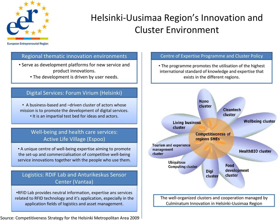 Centre of Expertise Programme and Cluster Policy The programme promotes the utilisation of the highest international standard of knowledge and expertise that exists in the different regions.