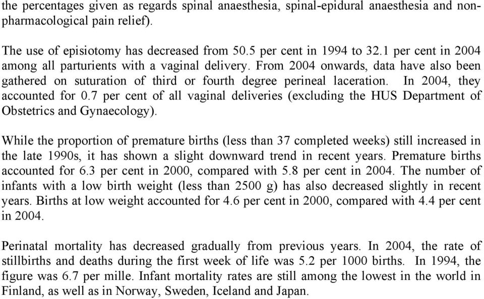 In 2004, they accounted for 0.7 per cent of all vaginal deliveries (excluding the HUS Department of Obstetrics and Gynaecology).