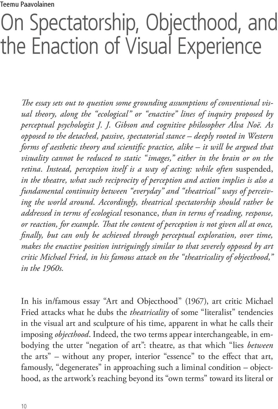 art and objecthood michael fried essay