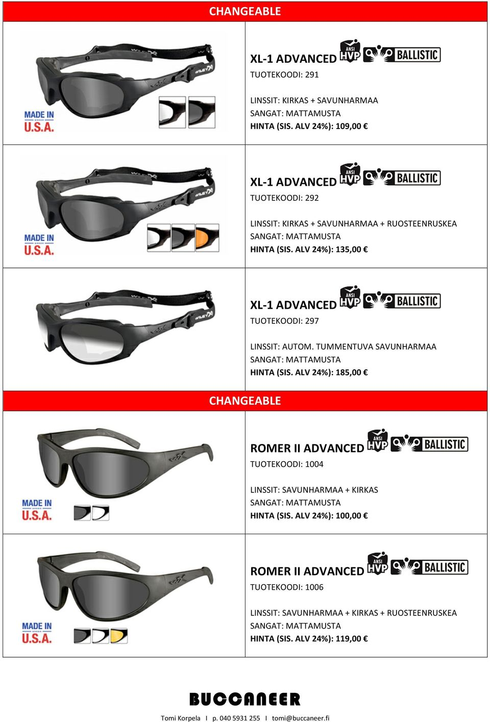 ALV 24%): 135,00 XL- 1 ADVANCED TUOTEKOODI: 297 CHANGEABLE LINSSIT: AUTOM.