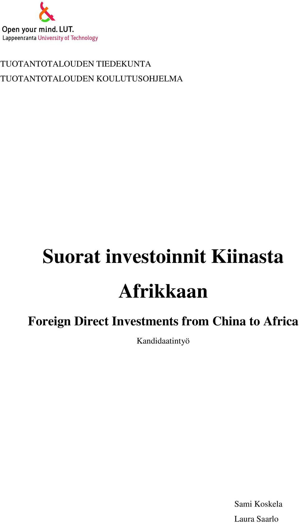 Afrikkaan Foreign Direct Investments from