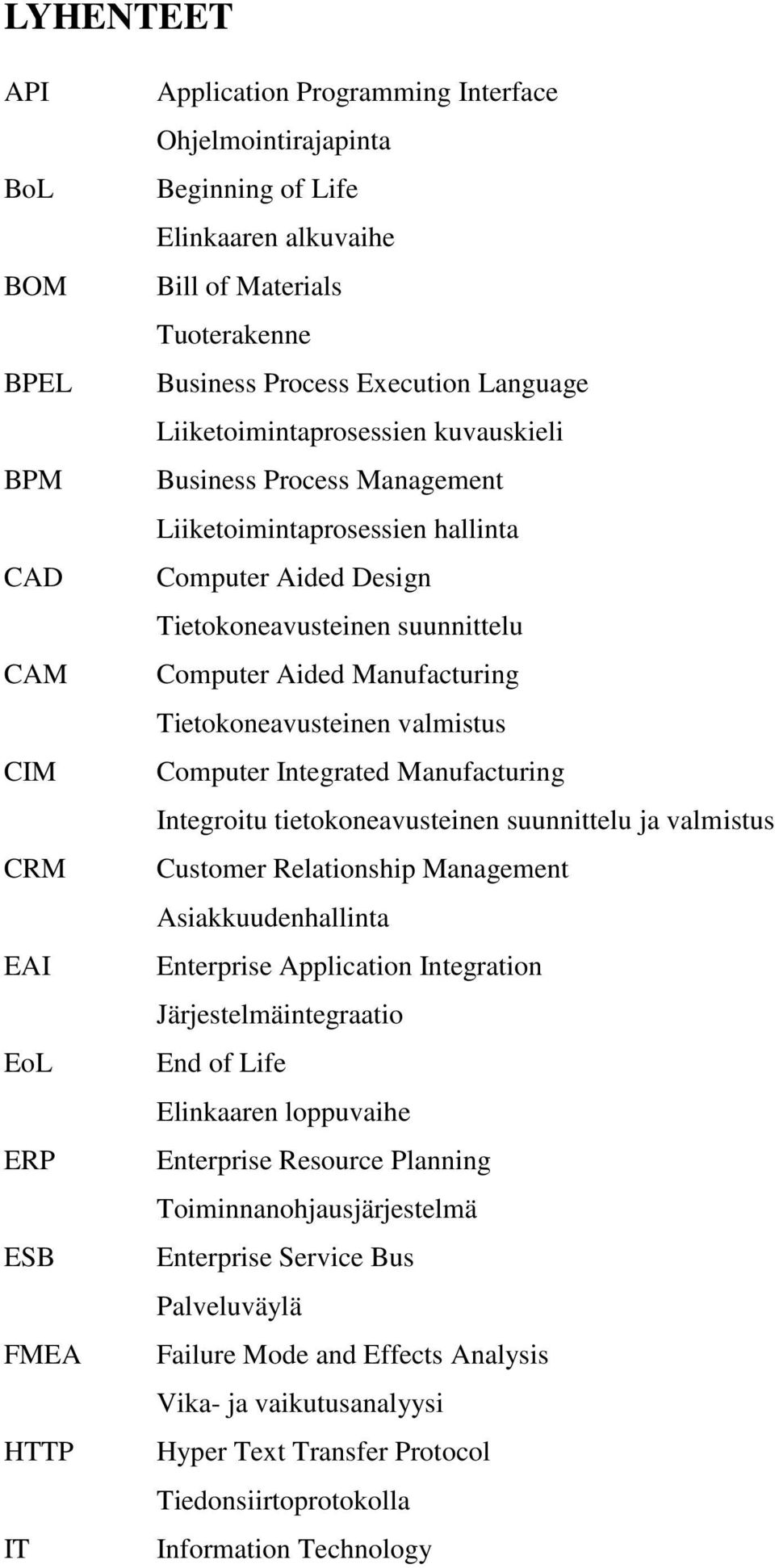 Computer Aided Manufacturing Tietokoneavusteinen valmistus Computer Integrated Manufacturing Integroitu tietokoneavusteinen suunnittelu ja valmistus Customer Relationship Management
