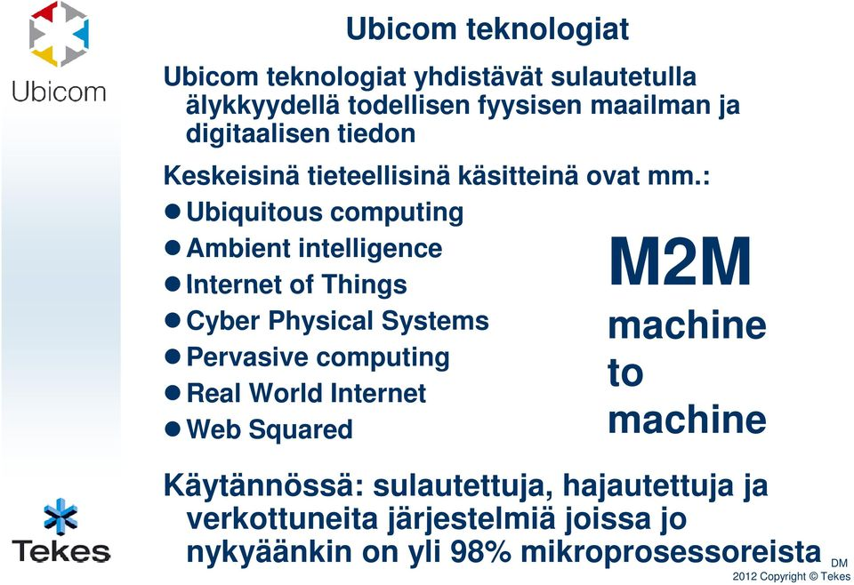 : Ubiquitous computing Ambient intelligence Internet of Things Cyber Physical Systems Pervasive computing to Real