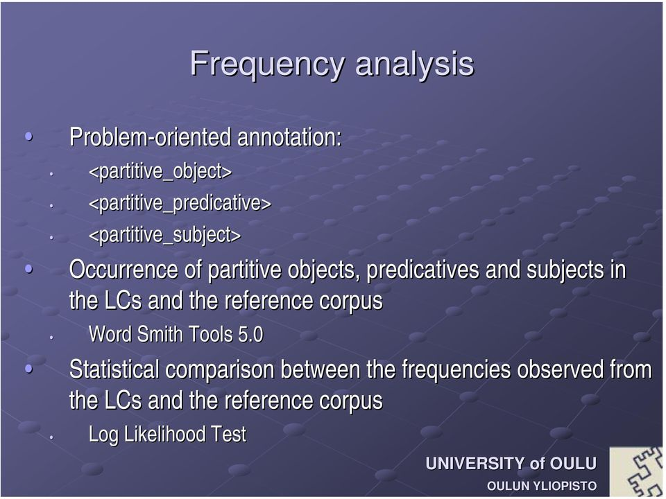 predicatives and subjects in the LCs and the reference corpus Word Smith Tools 5.