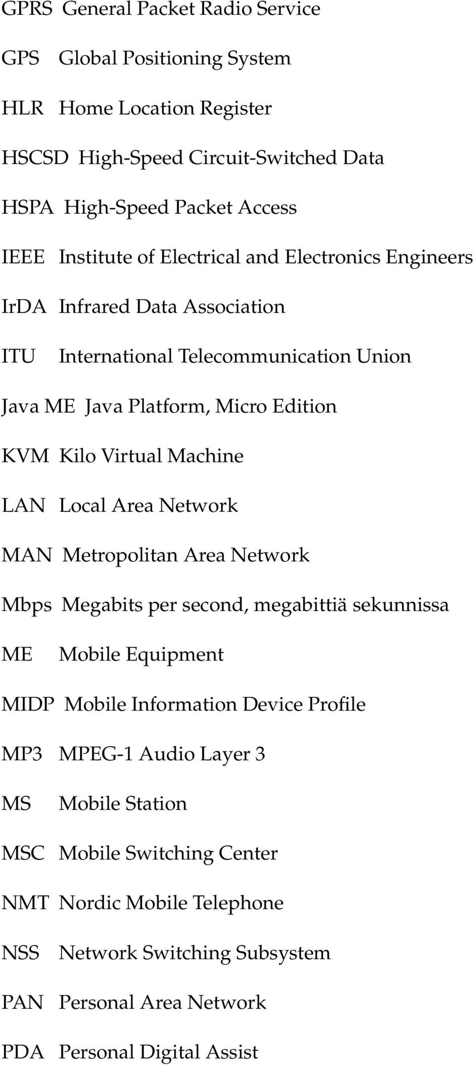 Virtual Machine LAN Local Area Network MAN Metropolitan Area Network Mbps Megabits per second, megabittiä sekunnissa ME Mobile Equipment MIDP Mobile Information Device