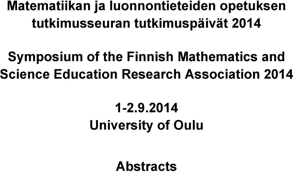 the Finnish Mathematics and Science Education